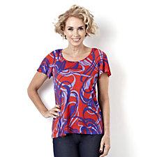 Kim & Co Petite Swirls Print Ruched Raglan Sleeve Flared Top