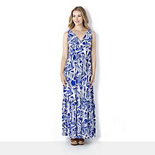 Tiana B Swirl Printed Empire Line Maxi Dress