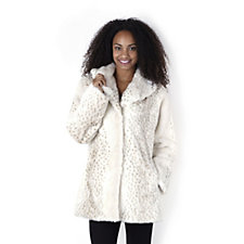 Dennis Basso Shawl Collar Dot Print Faux Fur Coat