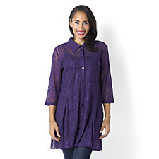 Floral Snowflake Lace Shirt with Fluted Hem by Michele Hope