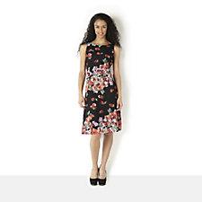 Tiana B Printed Floral Lace Princess Seam Dress