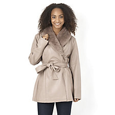 Dennis Basso Faux Leather Coat with Removable Shawl Collar