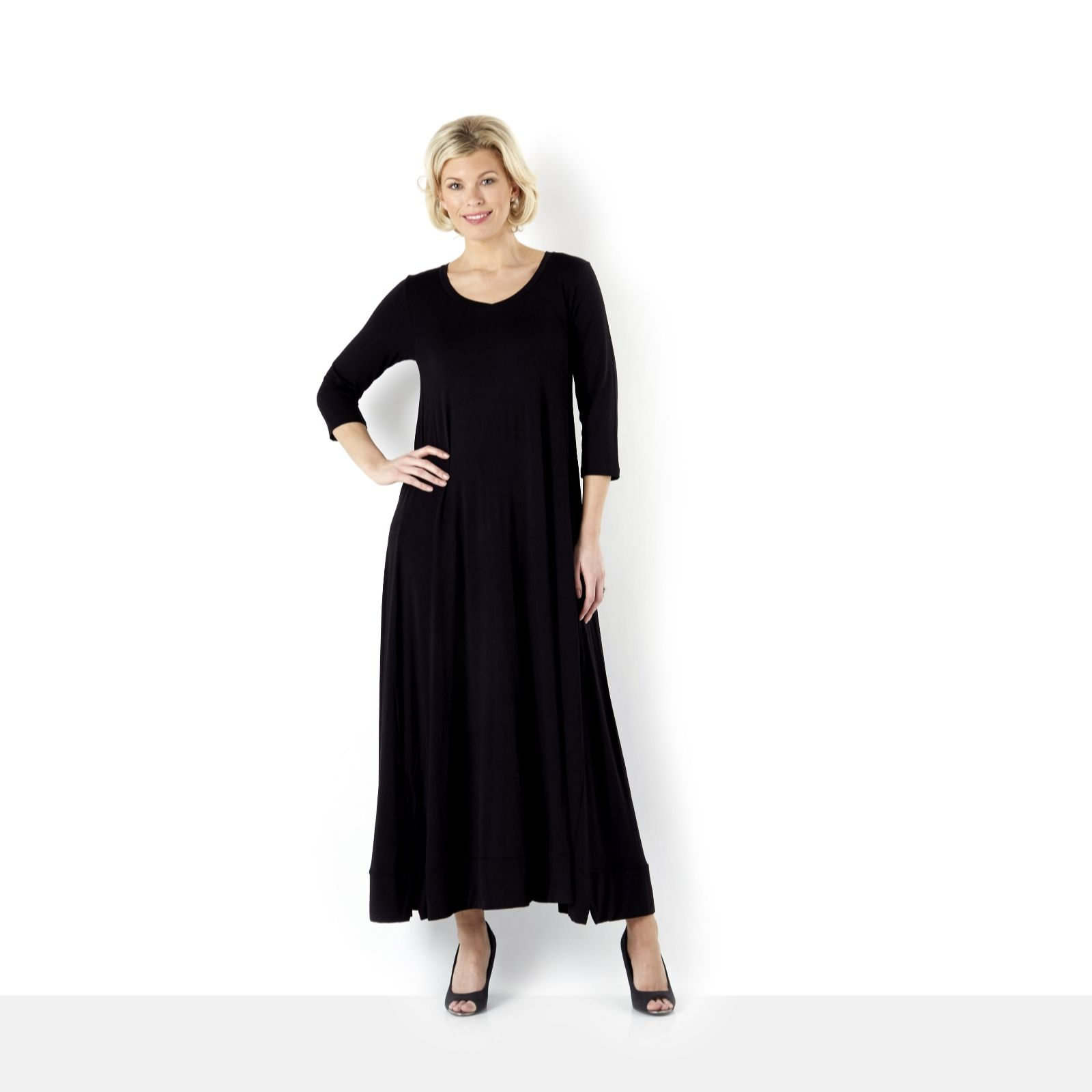 Join Clothes Jersey V Neck Maxi Dress with Full Hem