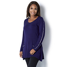 Knit Diamante Trim Tunic by Michele Hope