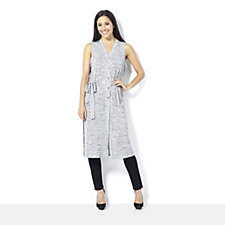 160763 - Chelsea Muse by Christopher Fink Rib Knit Tie Belt Sleeveless Cardigan