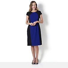 Ronni Nicole Short Sleeve Colour Block Crepe Midi Dress