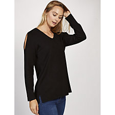 Knitted Top with Open Slit Shoulders by Michele Hope
