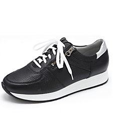Vitaform Leather Trainer with Lace & Zip Fastening