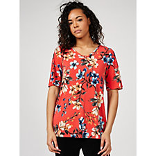 Kim & Co Brazil Knit Printed Elbow Sleeve Top