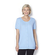 Short Sleeve Cardigan with Square Button Fastening by Michele Hope