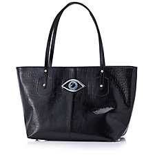 Butler&Wilson Leather Croc Effect Tote Bag with Crystal Eye Buckle