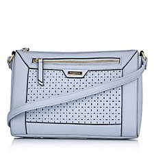 Tignanello Perforated Pebble Leather Crossbody Bag With Front Panel