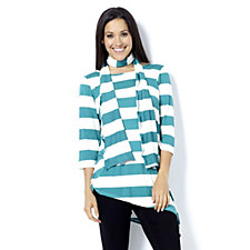 160764 - Chelsea Muse by Christopher Fink Asymmetric Hem Stripe Top with Scarf