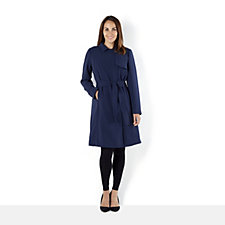 H by Halston Tie Belt Knee Length Trench Coat