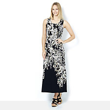 Isaac Mizrahi Live Regular Sleeveless Printed Maxi Dress