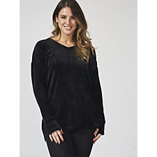 Cuddl Duds Double Plush Velour Long Sleeve V Neck Pullover