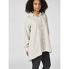 Woven Button Front Shirt with Back Lacing by Susan Graver