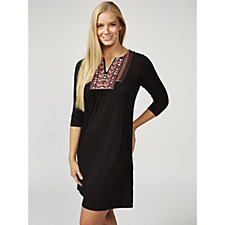 Together Embroidered Neck Dress