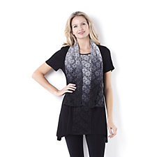 Chelsea Muse by Christopher Fink Ombre Lace Detail Knit Top & Scarf Set