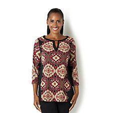 Printed Top with Metal Keyhole Trim by Susan Graver