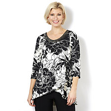 Grace Printed Tulip Hem Tunic with Embellished Neck