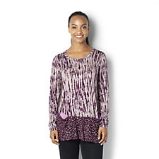 Logo by Lori Goldstein Mixed Print Tunic with Pop Pocket Detail