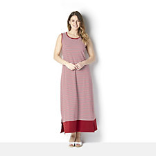 Denim & Co. Striped Sleeveless Maxi Dress with Side Slits