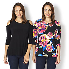 2 Pack of Tops Printed Top & Cold Shoulder Top by Nina Leonard