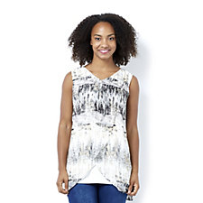 H by Halston Printed Tulip Overlay Top