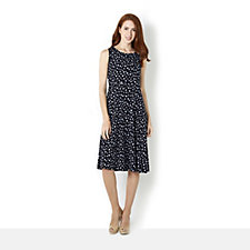 Kim & Co Brazil Knit Multi Dots Flared Dress Mid Length