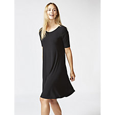 Trapeze Swing Dress with Curved Hem & Pockets by Nina Leonard