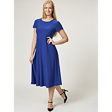 Antthony Designs Boat Neck Fit & Flare Dress with Cap Sleeves