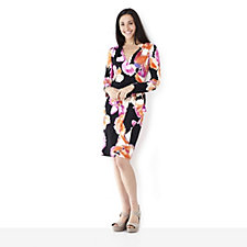 Outlet by Lesley Ebbetts Floral Print Mock Wrap Dress