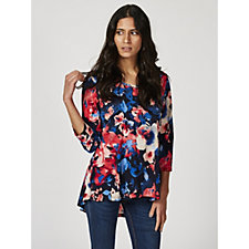 Printed Liquid Knit Ruffled Cold Shoulder Top by Susan Graver
