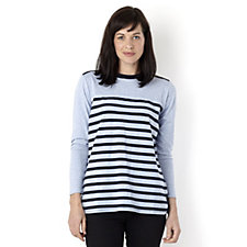 Diane Gilman Stripe Tee with Zip Detail