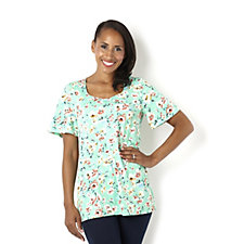Kim & Co Fresh Floral Brazil Knit Flared Sleeve Top
