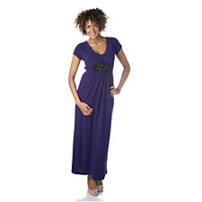 Tiana B Short Sleeve Maxi Dress with Embellished Belt