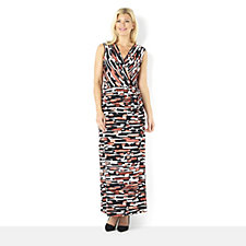 Tiana B Printed Sleeveless Maxi Dress with Faux Wrap Detail