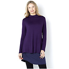 156466 - LOGO by Lori Goldstein Mock Turtleneck Two Piece Set Jersey Tunic