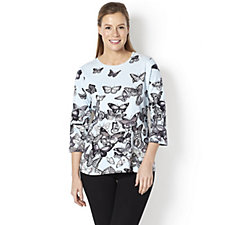 Artscapes Butterfly Festival 3/4 Sleeve Round Neck Top