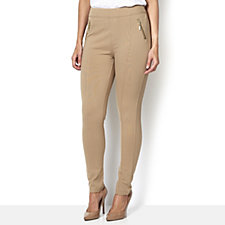 Diane Gilman Ponte Pull On Jegging with Gold Zip Detail