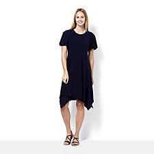Ronni Nicole Short Sleeve Sharkbite Hem Dress