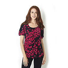 Kim & Co Brazil Knit Printed Short Sleeve Boho Top