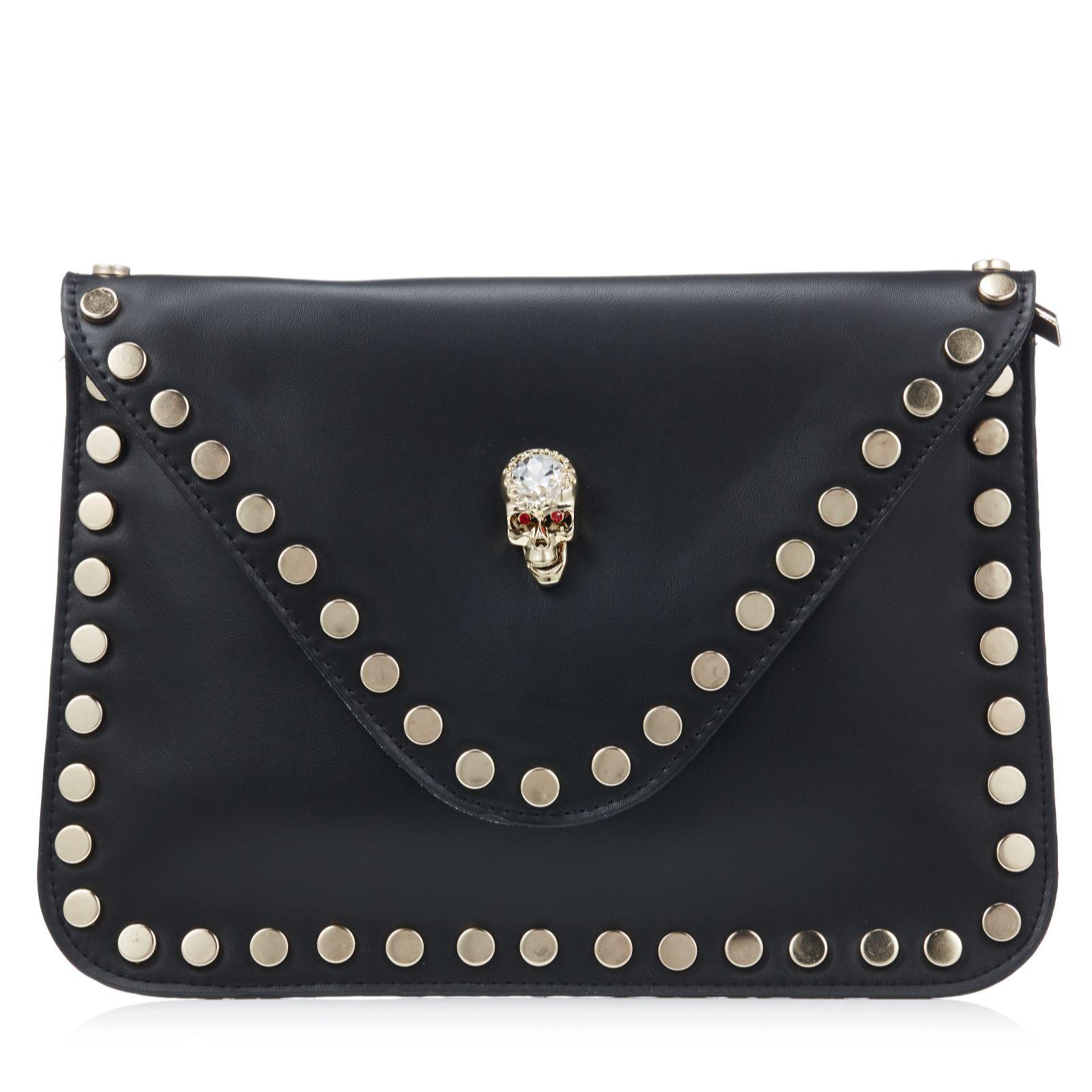 Silver leather tote bag uk - Butler Wilson Envelope Shape Skull Ornament Clutch Bag 165666