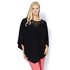 Antthony Designs Poncho Top with Lace Detail & Handkerchief Hem
