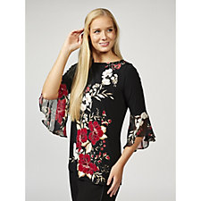 Printed Liquid Knit Tunic with Chiffon Sleeves by Susan Graver