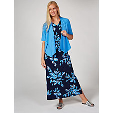170866 - Denim & Co. Cotton Jersey Maxi Dress & Waterfall Cardigan Regular