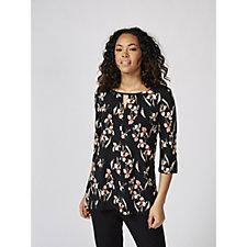 Kim & Co Brazil Knit Printed 3/4 Sleeve Front Slit Tunic