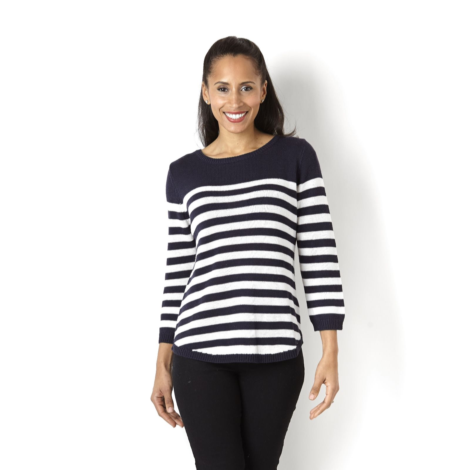 Marble Stripe Jumper with Zip Back Detail