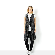 Absolutely Famous Aztec Printed Cascade Front Sleeveless Cardigan